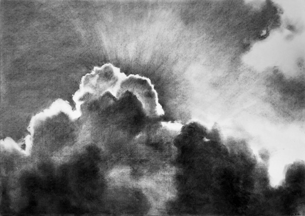 charcoal drawings - cloud burst