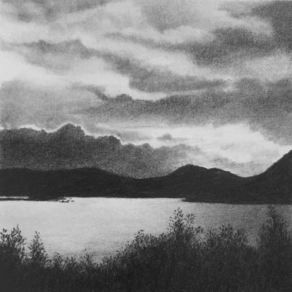 graphite drawings - evening light on the lake