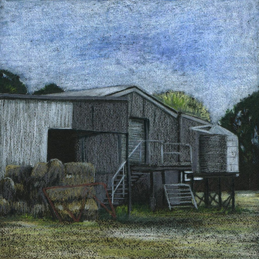 coloured pencil - hay bales and shed