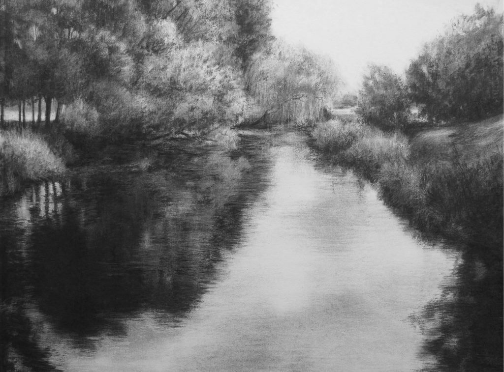 charcoal drawings - morning light on the creek