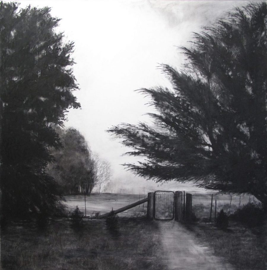 charcoal drawings - into the fog