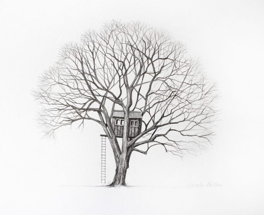 graphite drawings - the tree house